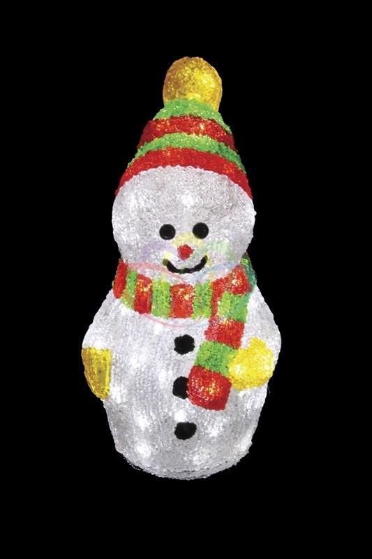 Акриловая светодиодная фигура Снеговик с шарфом, 30 см