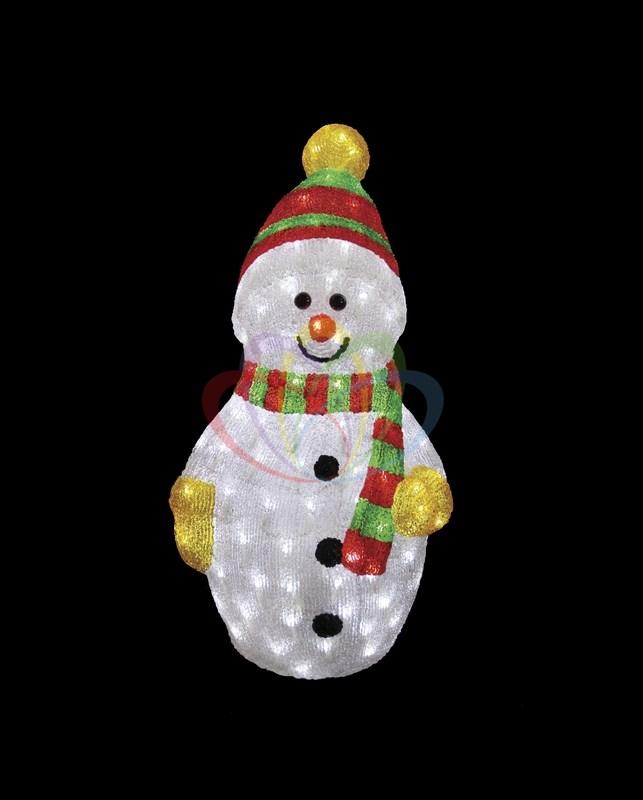Акриловая светодиодная фигура Снеговик с шарфом, 60 см