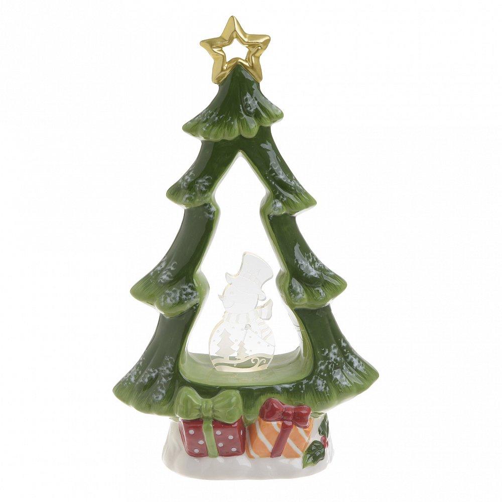 Декор настольный НГ с LED елка зеленый
