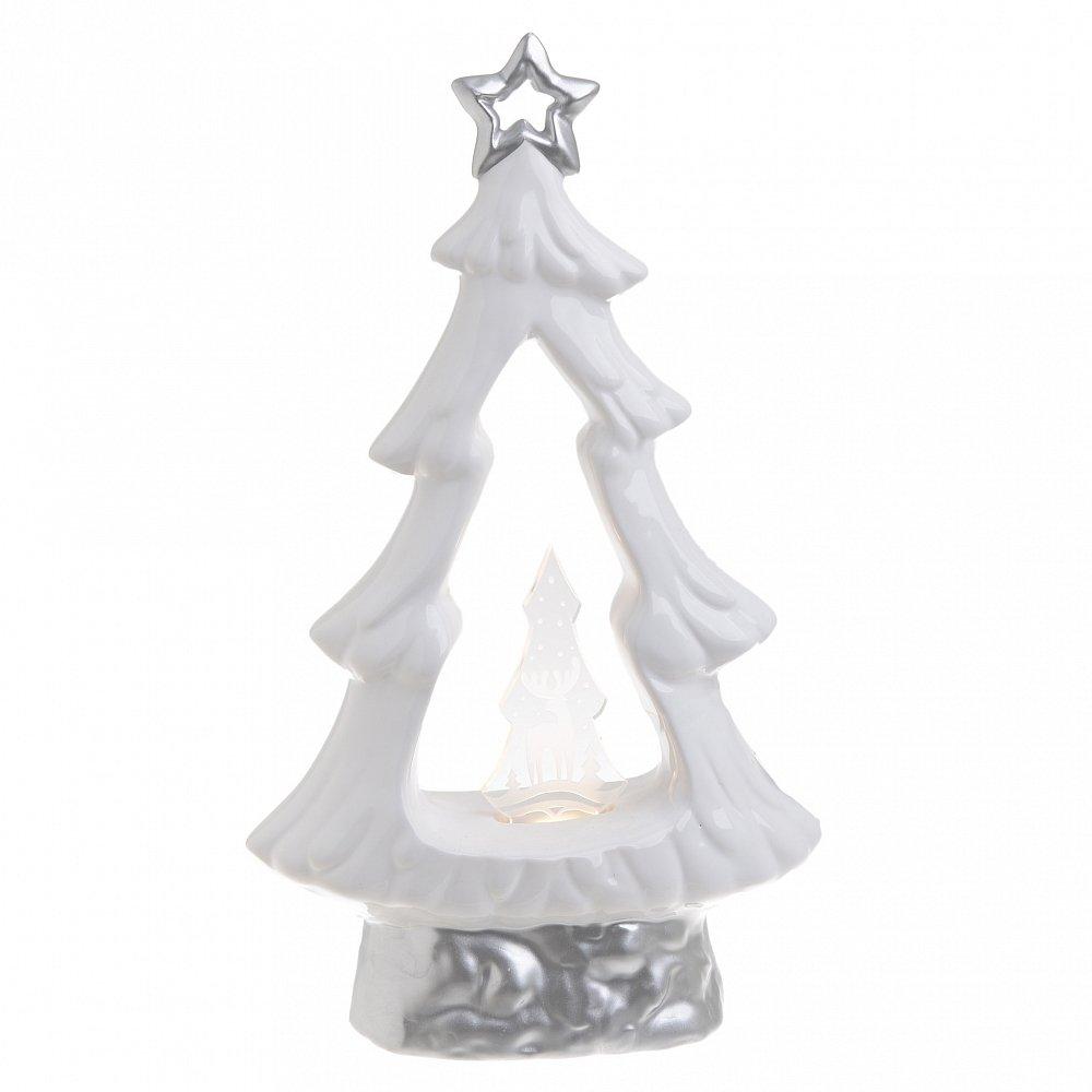 Декор настольный НГ с LED елка белый