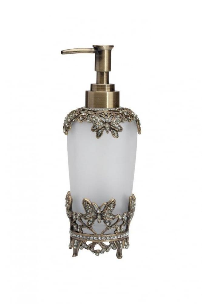 Дозатор для жидкого мыла LisetteАксессуары для ванной<br>Дозатор для жидкого мыла Lisette представляет <br>собой матовый стеклянный флакон, который <br>сверху и снизу окантован металлической <br>вязью в виде бабочек, инкрустированных <br>стеклянными камешками. Благодаря изящному <br>дизайну, удобству и простоте в использовании, <br>является незаменимым аксессуаром в современной <br>ванной комнате. Изготовлена из совершенно <br>безопасных натуральных материалов. Непременно <br>приобретите его вместе с другими предметами <br>коллекции Lisette для вашей ванной комнаты. <br>Такой набор, несомненно, станет и шикарным <br>подарком.<br><br>Цвет: золото, белый<br>Материал: Стекло, Металл<br>Вес кг: 1,5<br>Длина см: 9<br>Ширина см: 9<br>Высота см: 18