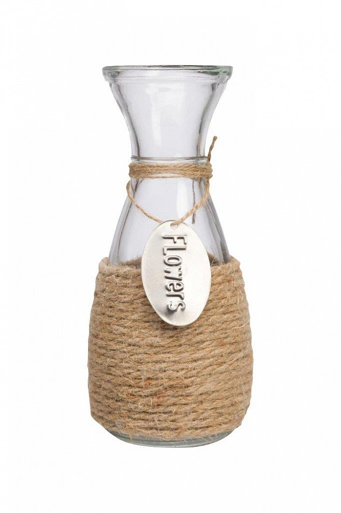 Декоративная ваза Orson, DG-D-HG11Домашний сад<br>Стеклянная ваза декорирована таким скромным и относительно недорогим материалом как  пеньковая веревка, который придает этому интересному предмету декора невероятное очарование и благородство. Декоративная ваза Orson обязательно найдет свое место в вашем интерьере. Внесите в свой интерьер немного тепла и уюта!<br><br>Цвет: Прозрачный, Бежевый<br>Материал: Стекло, Пенька<br>Вес кг: 0.55<br>Длинна см: 10<br>Ширина см: 10<br>Высота см: 23