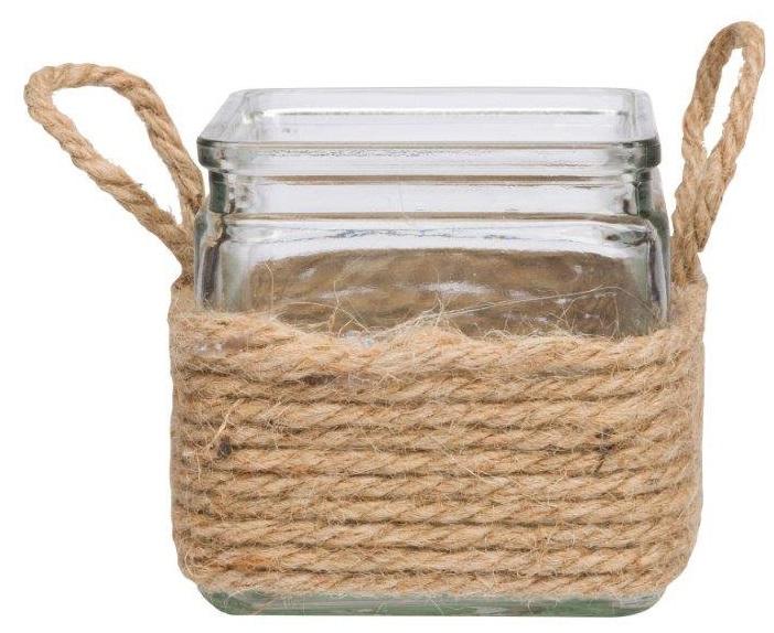 Декоративная ваза OwenВазы<br>Стеклянная ваза декорирована таким скромным <br>и относительно недорогим материалом как <br>пеньковая веревка, который придает этому <br>интересному предмету декора невероятное <br>очарование и благородство. Декоративная <br>ваза Owen обязательно найдет свое место в <br>вашем интерьере. Внесите в свой интерьер <br>немного тепла и уюта!<br><br>Цвет: Прозрачный, Бежевый<br>Материал: Стекло, Пенька<br>Вес кг: 0,5<br>Длина см: 10<br>Ширина см: 10<br>Высота см: 10