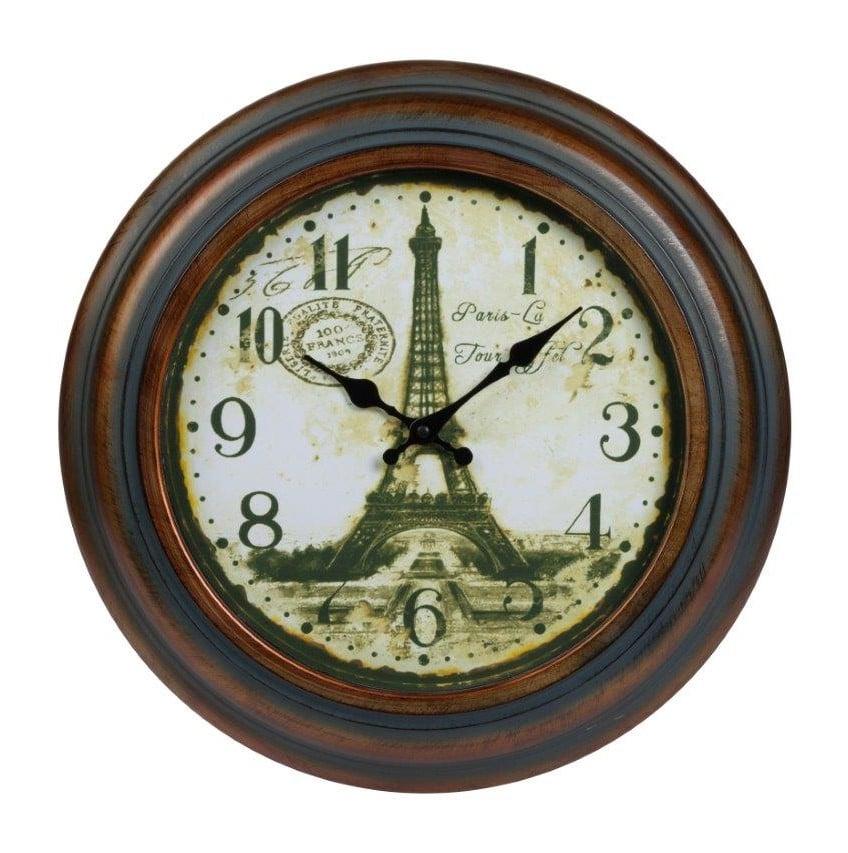 Настенные часы NorbertЧасы<br>Настенные часы Norbert в металлическом, немного <br>состаренном корпусе, круглой формы, в стиле <br>Прованс, с изображением Эйфелевой башни <br>подойдут в качестве подарка вашим близким <br>и друзьям.<br><br>Цвет: Коричневый, Зелёный, Белый<br>Материал: Металл<br>Вес кг: 2,5<br>Длина см: 43<br>Ширина см: 43<br>Высота см: 6