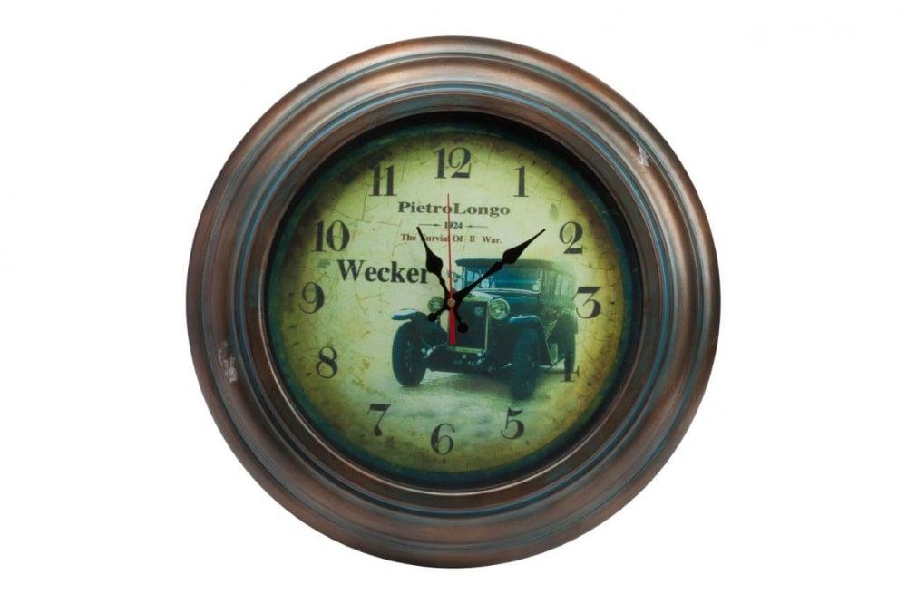 Настенные часы LeytonЧасы<br>Настенные часы Wecker в металлическом корпусе <br>круглой формы, в стиле Прованс, с изображением <br>старого автомобиля на зелёном циферблате. <br>Купите в качестве подарка вашим близким <br>и друзьям.<br><br>Цвет: Коричневый, Зелёный, Чёрный<br>Материал: Металл<br>Вес кг: 2,5<br>Длина см: 43<br>Ширина см: 43<br>Высота см: 6