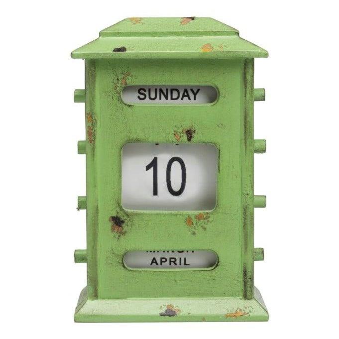Календарь настольный WalterДекор для дома<br>Календарь настольный Walter изготовлен из <br>натурального дерева в элегантном и оригинальном <br>оформлении, стилизован под «старину» в <br>виде домика с ручным переводом чисел и месяцев, <br>благородного зелёного цвета. Благодаря <br>изящному дизайну, удобству и легкости в <br>использовании, является стильным аксессуаром <br>в современном доме.<br><br>Цвет: Зелёный<br>Материал: Дерево<br>Вес кг: 0,8<br>Длина см: 15<br>Ширина см: 10<br>Высота см: 23