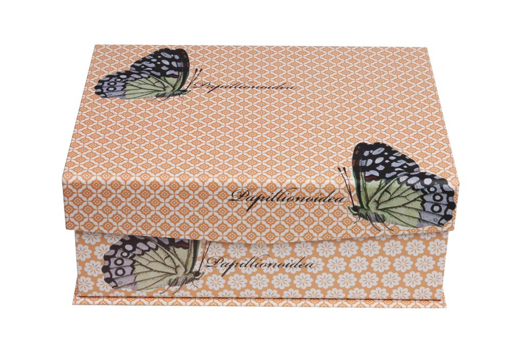 Купить Декоративная коробка с бабочками оранжевая Charmian Media в интернет магазине дизайнерской мебели и аксессуаров для дома и дачи