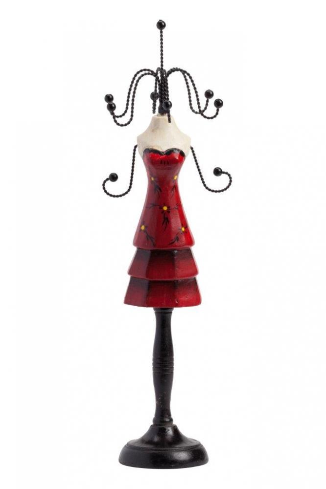 Подставка для украшений NoreenШкатулки и подставки для украшений<br>Подставка для украшений Nanette изготовлена <br>в строгом современном стиле из дерева и <br>металла, в виде женского манекена на чёрной <br>стойке, в красном платье. Подставка Nanette <br>достаточно гигиенична и функциональна. <br>Дарите украшения? Подарите и подставку <br>для них!<br><br>Цвет: Чёрный, Белый, Красный<br>Материал: Дерево, Металл<br>Вес кг: 1,3<br>Длина см: 36<br>Ширина см: 9<br>Высота см: 9