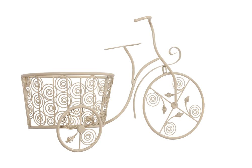 Подставка для цветов DenzelДомашний сад<br>Подставка для цветов Denzel в бежевом цвете, <br>изготовлена из металла в виде старинного <br>ажурного велосипеда с корзиной. Подставка <br>Denzel достаточно гигиенична и функциональна. <br>Подходит для большого пространства, создаст <br>уют и красоту.<br><br>Цвет: Бежевый<br>Материал: Металл<br>Вес кг: 1,5<br>Длина см: 58<br>Ширина см: 21<br>Высота см: 29