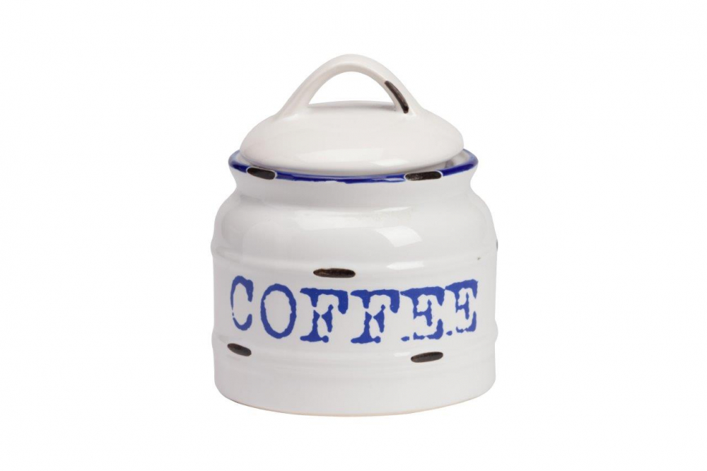 Емкость для хранения Thomasina Coffee MedioКухонные принадлежности<br>Ёмкость для хранения Thomasina Coffee Medio выполнена <br>из керамики, покрытой глазурью белого цвета. <br>Декорирована надписью синего цвета COFFEE. <br>Крышка снабжена удобной ручкой. ёмкость <br>изготовлена из совершенно безопасного <br>натурального материала. Кофе, который вы <br>будете хранить в этой банке, никогда не <br>утратит свой аромат. Полный набор банок <br>из коллекции Thomasina обязательно должен быть <br>на кухне любой хозяйки дома.<br><br>Цвет: Белый, Синий<br>Материал: Керамика<br>Вес кг: 2,1<br>Длина см: 12<br>Ширина см: 12<br>Высота см: 10
