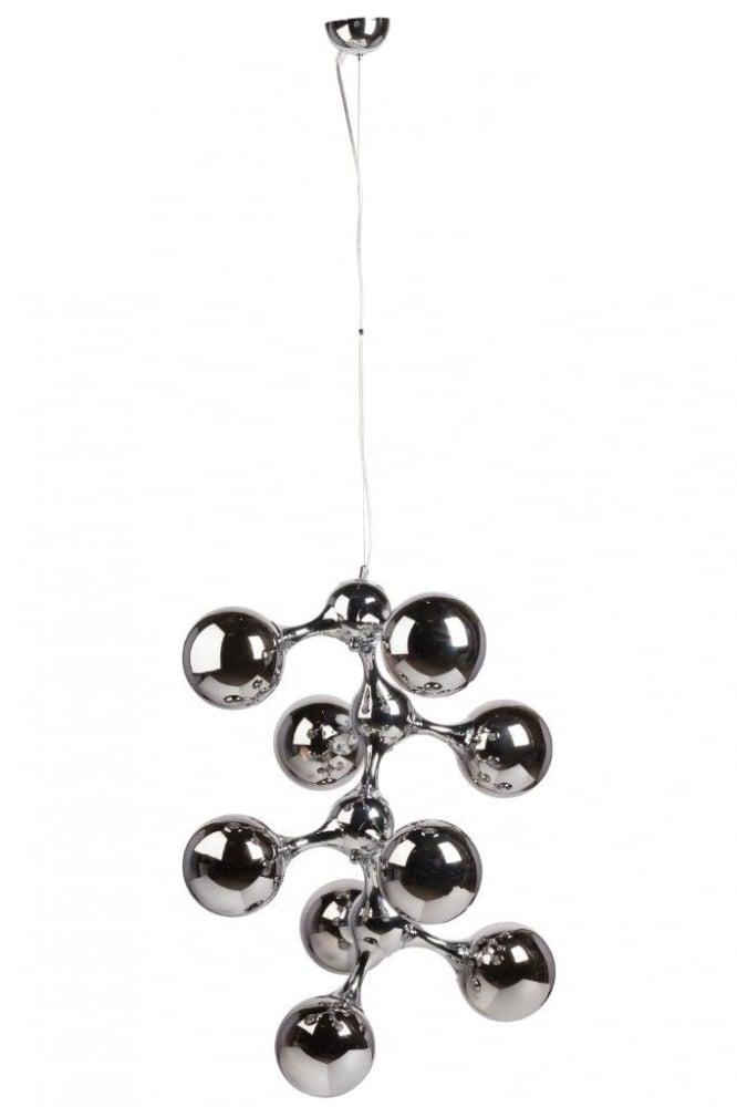 Подвесной светильник Cosmo Silver DG-HOME Оригинальный подвесной светильник Cosmo  Silver — со стальным основанием серебристого  цвета, крепится на тонкой гибкой подвеске.  Абажур, состоящий из серебристых стеклянных  колбочек в виде грозди винограда, подчеркнет  ваш уникальный интерьер. Предназначен для  использования со светодиодными лампами.  Длина провода 75 см. Упаковано в 2 коробки  размерами 31*63*44 см и 22*89*39 см.