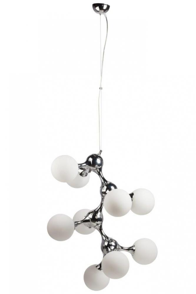 Подвесной светильник Cosmo White DG-HOME Оригинальный подвесной светильник Cosmo  White — со стальным основанием серебристого  цвета, крепится на тонкой гибкой подвеске.  Абажур, состоящий из белых стеклянных колбочек  в виде грозди винограда, подчеркнет ваш  уникальный интерьер. Предназначен для использования  со светодиодными лампами. Длина провода  74 см. Упаковано в 2 коробки размерами 30*62*44  см и 22*89*39 см.