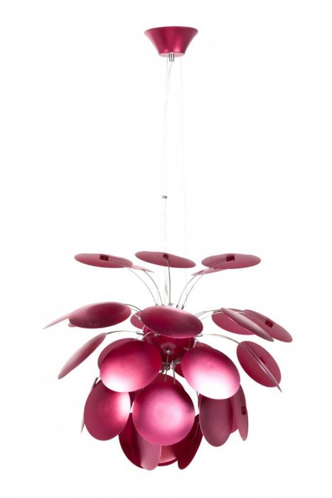 Подвесной светильник Discoco Red DG-HOME Красивый подвесной светильник Discoco Red со  стальным основанием красного цвета, крепится  на тонкой гибкой подвеске. Абажур, состоящий  из красных алюминиевых листьев, парит над  лампочкой и направляет свет вниз. Светильник  также надежен и удобен, как и красив. Предназначен  для использования со светодиодными лампами.  Длина провода 70 см.