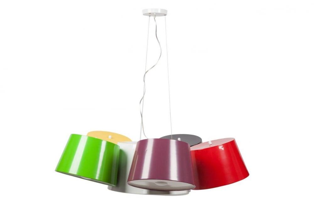 Подвесной светильник Elvita DG-HOME Креативный подвесной светильник Elvita —  крепится на стальном основании белого цвета.  Светильник состоит из шести гибких подвесок,  которые несут на себе шесть разных по цвету  алюминиевых плафонов (кофейный, белый, зелёный,  фиолетовый, жёлтый, красный). В центральном  (белом) плафоне располагаются три лампы,  в остальных - по одной. Светильник надежен,  удобен, оригинален, создает уют и хорошее  настроение. Предназначен для использования  со светодиодными лампами. Длина провода  70 см.