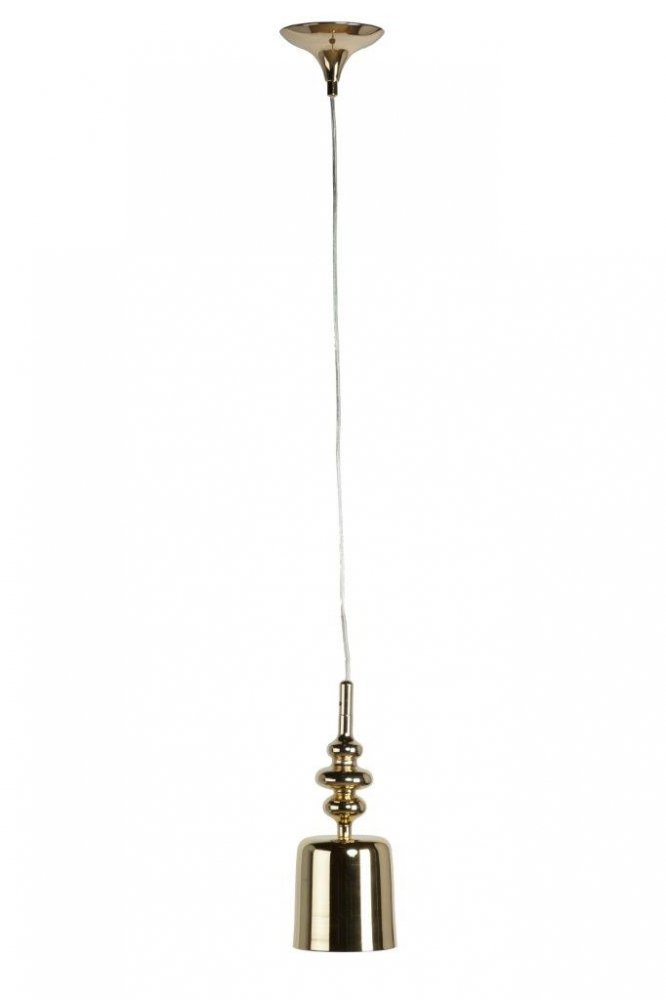 Подвесной светильник Donato GoldПодвесные светильники<br>Необычный подвесной светильник Donato Gold <br>со стальным основанием золотистого цвета, <br>крепится на тонкой гибкой подвеске. Абажур <br>изготовлен из металла в виде золотой колбы <br>и направляет свет вниз. Светильник надежен, <br>удобен, оригинален, создает уют и хорошее <br>настроение. Предназначен для использования <br>со светодиодными лампами. Высота плафона <br>29 см.<br><br>Цвет: Золото<br>Материал: Металл<br>Вес кг: 0,5<br>Длина см: 14<br>Ширина см: 14<br>Высота см: 126