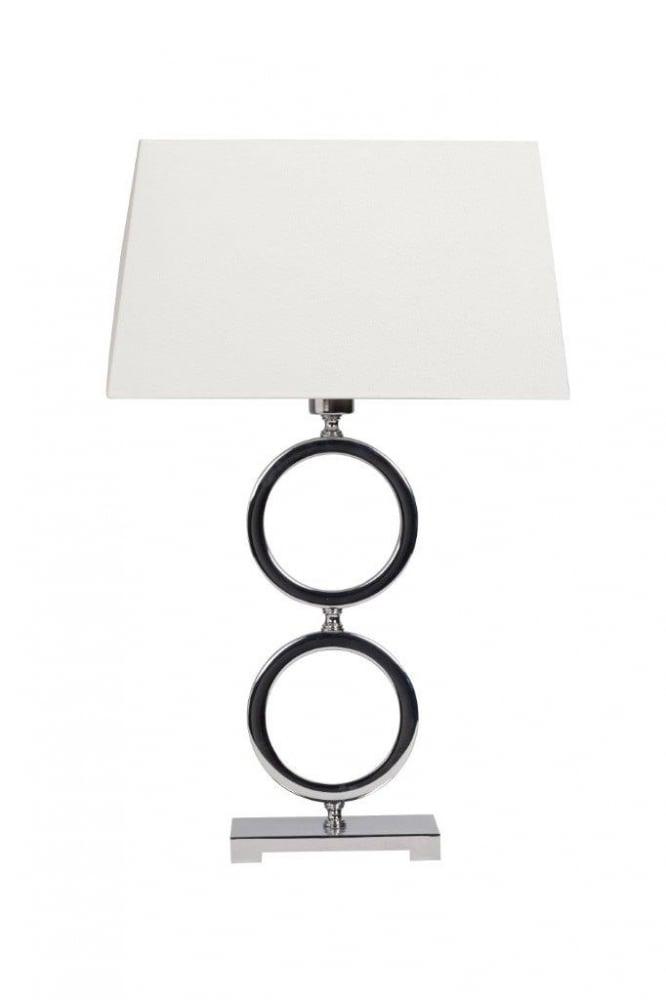 Напольный светильник Belezza Blanc DG-HOME Если вы купили настольную лампу, то у вас  уже стало уютней и светлей, а от этого и  настроение улучшилось. Настольная лампа  Belezza Blanc изготовлена на изящной платформе  в виде двух стальных колец, с белым тканевым  абажуром, прекрасно дополнит ваш интерьер.  Предназначен для использования со светодиодными  лампами. Высота абажура 24 см.