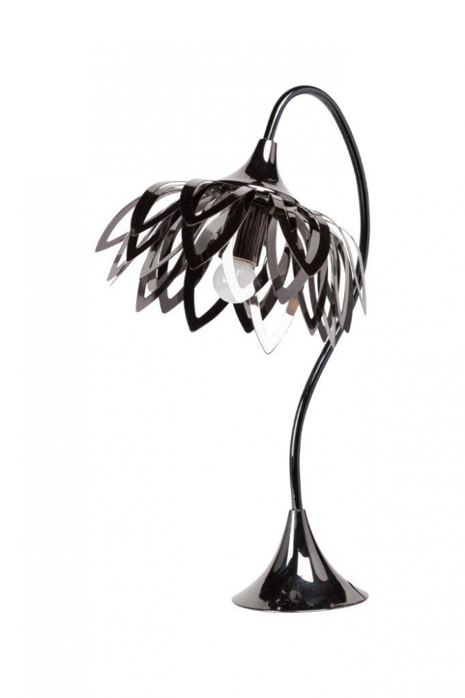 Настольная лампа Maypole DG-HOME Если вы купили настольную лампу Maypole, то  у вас уже стало уютней и светлей. Лампа изготовлена  в чёрном цвете на изящной металлической  платформе, корпус — в виде шеи лебедя, абажур  — в виде листьев. Лампа прекрасно дополнит  ваш интерьер. Предназначена для использования  со светодиодными лампами