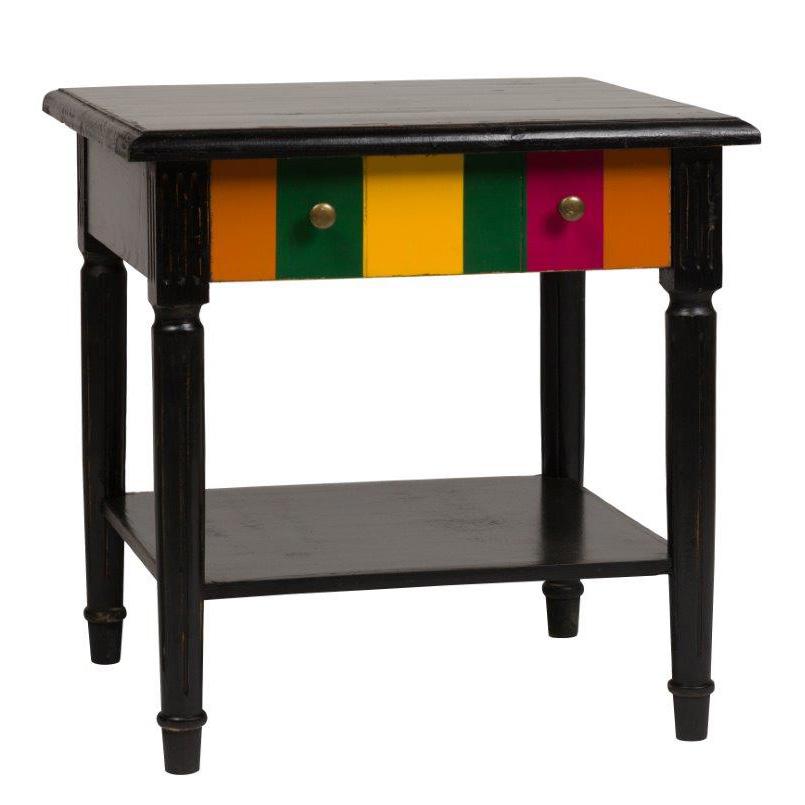 Журнальный столик ClozettКофейные и журнальные столы<br>Деревянный журнальный столик Clozet коричневого <br>цвета классической формы, изготовлен «под <br>старину», с надежной фурнитурой, с креативным <br>декором. Фасад выдвижного ящика столика <br>окрашен в разные цвета, внизу столика смонтирована <br>удобная полочка. Дизайнерский столик Clozet <br>отлично дополнит интерьер вашего дома.<br><br>Цвет: Чёрный<br>Материал: Дерево<br>Вес кг: 11<br>Длина см: 55<br>Ширина см: 60<br>Высота см: 61