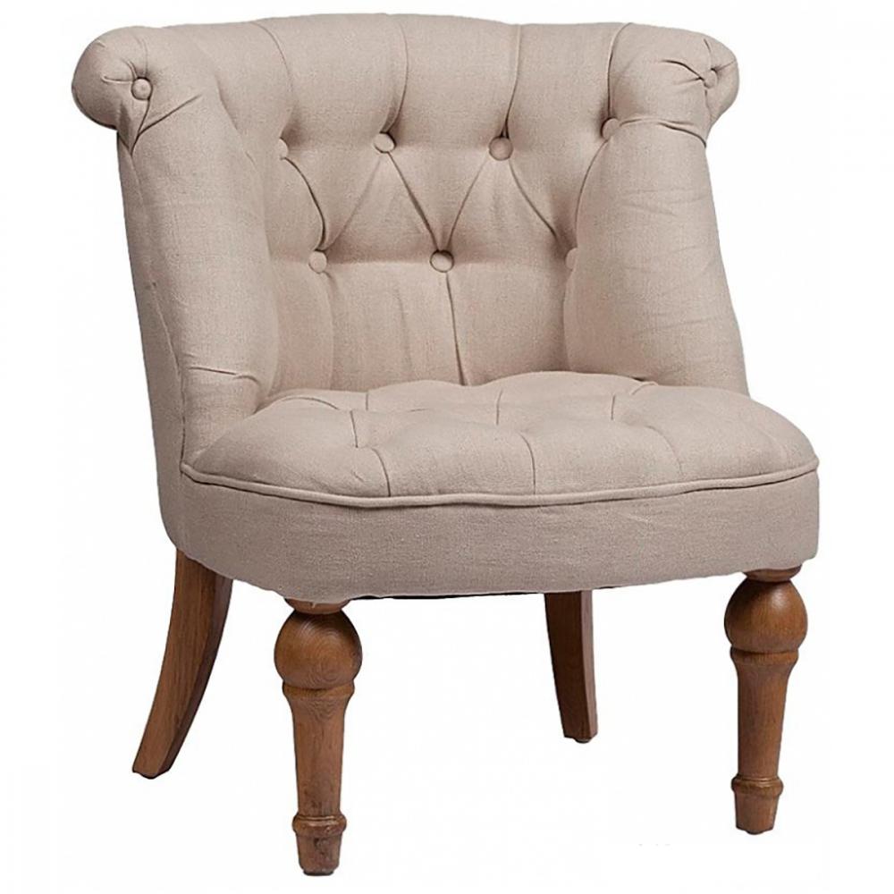 Кресло Sophie Tufted Slipper Chair Молочный ЛенКресла<br>Дизайн кресла Sophie Tufted Slipper вдохновлён мебелью <br>французских будуаров XIX века: покатая спинка, <br>отделка декоративными пуговицами, фигурные <br>ножки подчёркивают элегантность кресла. <br>Лаконичный дизайн и удобное мягкое сиденье <br>дарят непревзойдённый комфорт и позволяют <br>использовать кресло в различных ситуациях. <br>Изящный силуэт и небольшие размеры делают <br>его уместным как в спальне или гардеробной, <br>так и в любом другом приватном помещении.<br><br>Цвет: Белый<br>Материал: Дерево, Ткань, Поролон<br>Вес кг: 11<br>Длина см: 70<br>Ширина см: 70<br>Высота см: 72