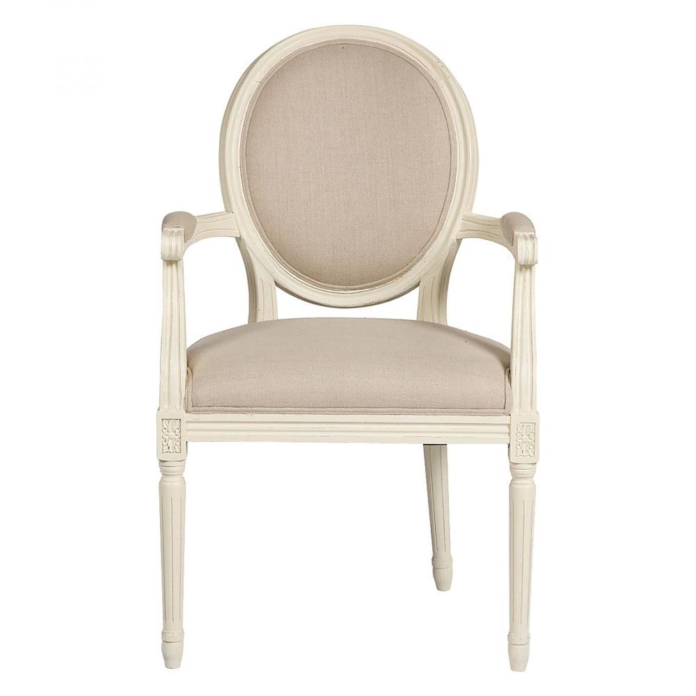 Кресло Vintage French Round Кремовый ЛенКресла<br>Это кресло напоминает мебель времен Людовика <br>и Марии-Антуанет. Ведь именно тогда был <br>пик расцвета стилей Прованс и Барокко. Выполненное <br>в современном толерантном стиле, кресло <br>Vintage French Cane Back Round, тем не менее, ярко показывает <br>свои французские истоки. Действительно, <br>оно бы украсило не один дворец или палаццо. <br>Классические округлые формы деревянного <br>каркаса из дуба, своеобразная спинка в виде <br>медальона, высокие тонкие ножки и округлые <br>бока — стиль Прованс! Простое и изысканное, <br>легкое и воздушное, кокетливое и притягательное <br>— вот так можно описать кресло Vintage French <br>Cane Back Round. Прекрасно подобранное сочетание <br>белого и бежевого цветов придает очарование <br>и шарм. Этот предмет украсит гостиную или <br>столовую, бальный зал или спальню. Купите <br>это кресло в нашем интернет-магазине — <br>вы не разочаруетесь!<br><br>Цвет: Бежевый<br>Материал: Ткань, Поролон, Дерево<br>Вес кг: 8,5<br>Длина см: 58,5<br>Ширина см: 61<br>Высота см: 102