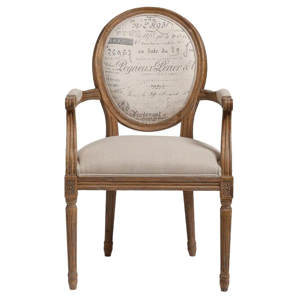 Кресло KellotauКресла<br>Интересная модель кресла-стула Kellotau основана <br>на деревянном каркасе из натуральной березы. <br>Сиденье обито светлой натуральной однотонной <br>льняной тканью, высокое и мягкое за счет <br>качественного поролона размещенного внутри. <br>Спинка круглой формы имеет винтажный рисунок <br>в виде интересных надписей. Ножки высокие <br>с оригинальным резным изображением. На <br>подлокотниках тоже есть вставочки, пошитые <br>из такого же льна небольшого размера, прикреплены <br>для того, чтобы локтям было удобно, а также <br>для декора. В таком кресле вам будет хорошо <br>и комфортно, можно поставить в помещение, <br>отделанное в разных стилях, потому как кресло <br>сделано в классическом варианте. Современный <br>дизайн кресла выглядит элегантно и красиво.<br><br>Цвет: Бежевый<br>Материал: Дерево, Ткань, Поролон<br>Вес кг: 15,3<br>Длина см: 58,5<br>Ширина см: 61<br>Высота см: 102