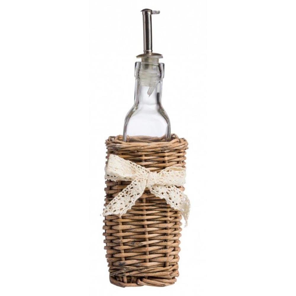 Бутылка для жидких приправ с дозатором Кухонные принадлежности<br>Эстетичная бутылка для жидких приправ <br>изготовлена из стекла с металлическим дозатором, <br>нижняя часть бутылки помещена в плетеную <br>корзинку, изыскано перевязанную кружевной <br>ленточкой, лаконично впишется в интерьер <br>кухни.<br><br>Цвет: Прозрачный<br>Материал: Стекло, Дерево<br>Вес кг: 0,3<br>Длина см: 21<br>Ширина см: 7<br>Высота см: 7