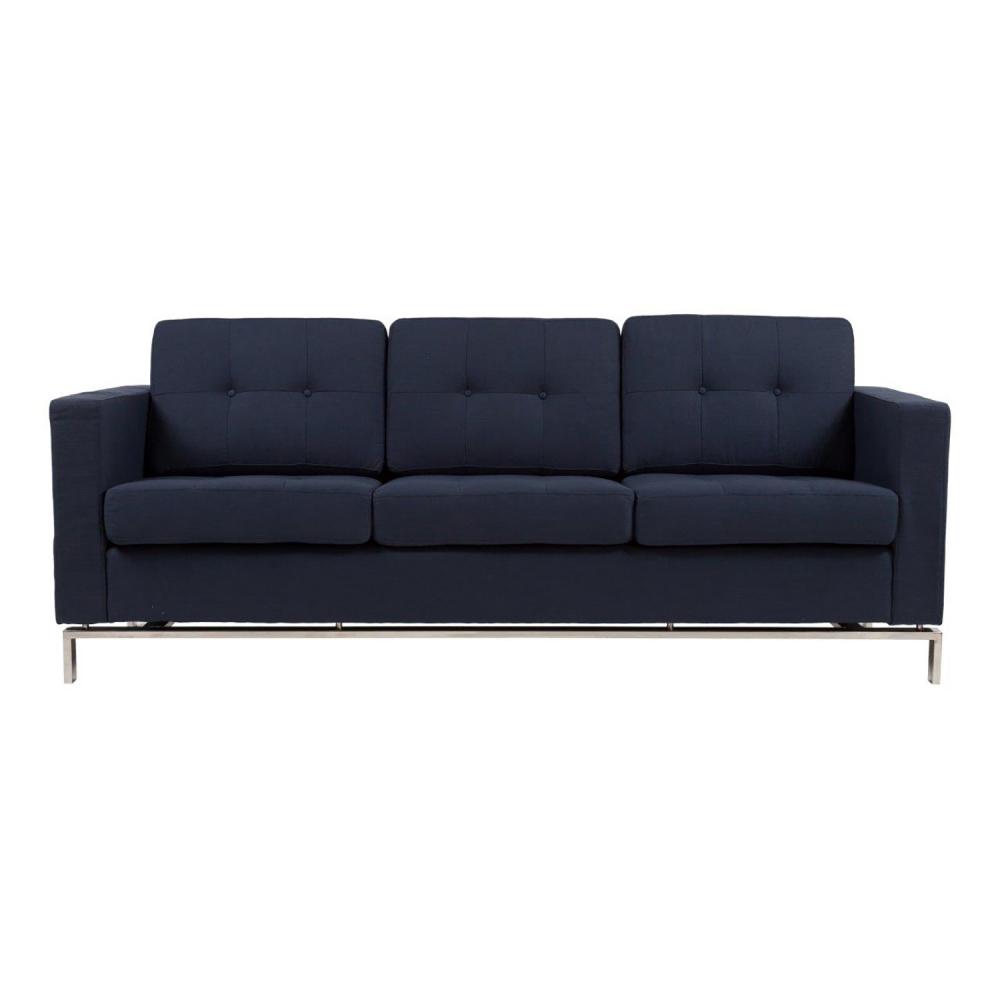 Диван Foster Sofa Dark BlueДиваны<br>За счет своего лаконичного дизайна диван <br>Foster впишется в любой современный интерьер. <br>Эффектнее всего такой диван будет смотреться <br>в квартире-студии, выполненной в стиле лофт. <br>Прямоугольная форма и тонкие стальные ножки <br>модели демонстрируют строгий силуэт. Элегантная <br>спинка, состоящая из диванных модулей, скромно <br>оформлена тканевыми пуговицами. Насыщенный <br>синий оттенок подчеркнет индустриальный <br>колорит пространства.<br><br>Цвет: Синий<br>Материал: Ткань, Поролон, Дерево<br>Вес кг: 73<br>Длина см: 208<br>Ширина см: 83<br>Высота см: 80