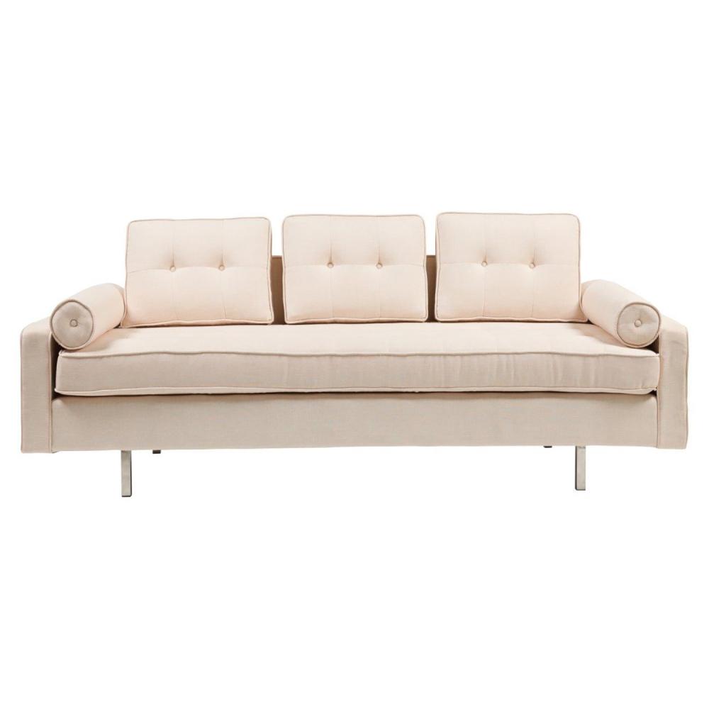 Диван Chicago Sofa Бежевый НейлонДиваны<br>Диван Chicago — яркий акцент в просторном <br>и светлом интерьере лофт. Изысканный бежевый <br>оттенок обивки и строгие стальные ножки <br>добавляют в образ контраста. Модель смотрится <br>очень эффектно за счет необычно оформленной <br>спинки. Она не монолитная, а состоит их трех <br>модулей, скромно украшенных тканевыми пуговицами. <br>В сочетании с декоративными подушками-валиками <br>такая композиция выглядит воздушной и легкой.<br><br>Цвет: Бежевый<br>Материал: Ткань, Поролон, Дерево<br>Вес кг: 65<br>Длина см: 210<br>Ширина см: 88<br>Высота см: 76