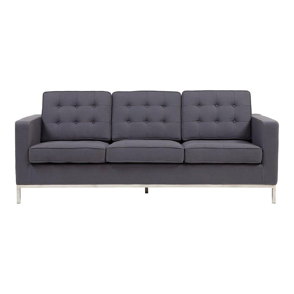Диван Florence Knoll Sofa GreyДиваны<br>Диван Florence Knoll Sofa Grey, благодаря лаконичному <br>дизайну, впишется в любой современный интерьер. <br>Особенно эффектно диван будет смотреться <br>в квартире-студии, выполненной в стиле лофт. <br>Прямоугольная форма и тонкие стальные ножки <br>модели являют собой образец сдержанности. <br>Элегантная спинка, состоящая из трех модулей, <br>декорирована пуговицами-капитоне. Благородный <br>серый оттенок привнесет в пространство <br>индустриальный колорит.<br><br>Цвет: Серый<br>Материал: Ткань, Поролон, Дерево<br>Вес кг: 65<br>Длина см: 200<br>Ширина см: 82<br>Высота см: 80