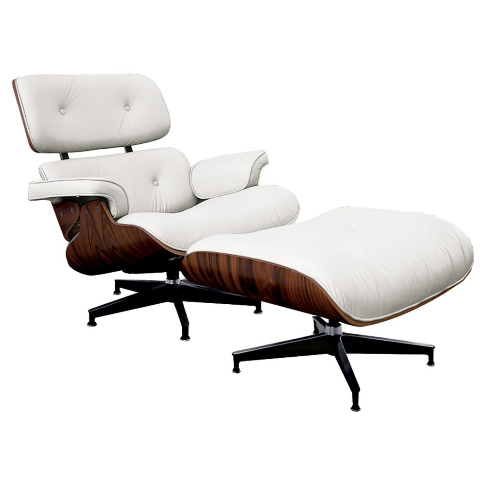 Кресло Eames Lounge Chair & Ottoman Белая Кожа Класса • Премиум, DG-F-ACH445-4