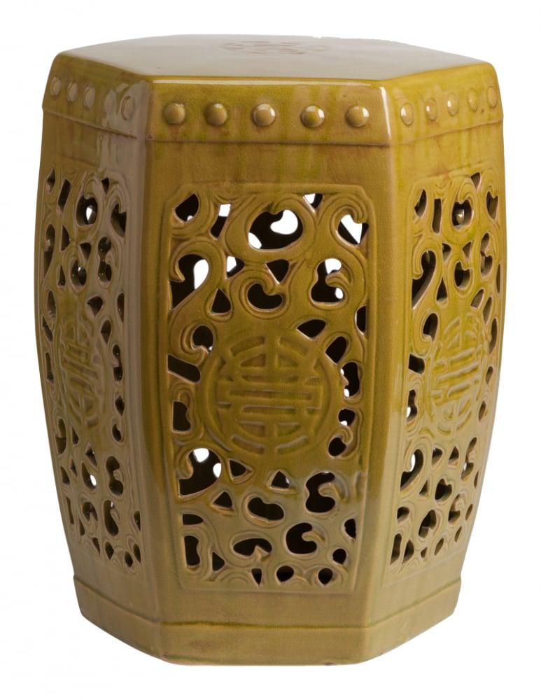 Керамический столик-табурет Design Stool Marsh DG-HOME Это предмет мебели, который сочетает в  себе сразу две функции — его можно использовать  и как стол, и как табурет, в зависимости  от вашего желания. Примечательно, что эта  модель выполнена не из дерева, как следовало  бы ожидать, а из грубой керамики. Столешница,  она же сидение, выполнена в форме шестиугольника,  боковые грани украшены оригинальным ажурным  узором, а в общем напоминает бочонок. Столик-табурет  выполнен в зеленовато-болотном цвете, станет  полезным приобретением в первую очередь  для маленьких помещений, в которых остро  стоит вопрос экономии полезного пространства.  Хотите больше приятных эмоций — купите  столь необычный и яркий предмет для своего  интерьера.