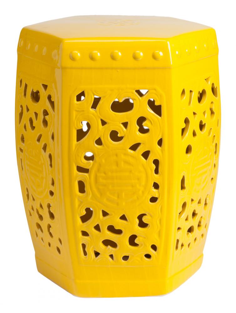 Керамический столик-табурет Design Stool Yellow DG-HOME Это предмет мебели, который удачно сочетает  в себе сразу две функции — его можно использовать  и как стол, и как табурет, в зависимости  от вашего желания. Примечательно, что эта  модель выполнена не из дерева, как следовало  бы ожидать, а из грубой керамики. Столешница,  она же сидение, выполнена в форме шестиугольника,  боковые грани украшены оригинальным ажурным  узором, а в общем напоминает бочонок. Столик-табурет  выполнен в жёлтом цвете, станет полезным  приобретением в первую очередь для маленьких  помещений, в которых остро стоит вопрос  экономии полезного пространства. Хотите  больше приятных эмоций — купите столь необычный  и яркий предмет для своего интерьера.