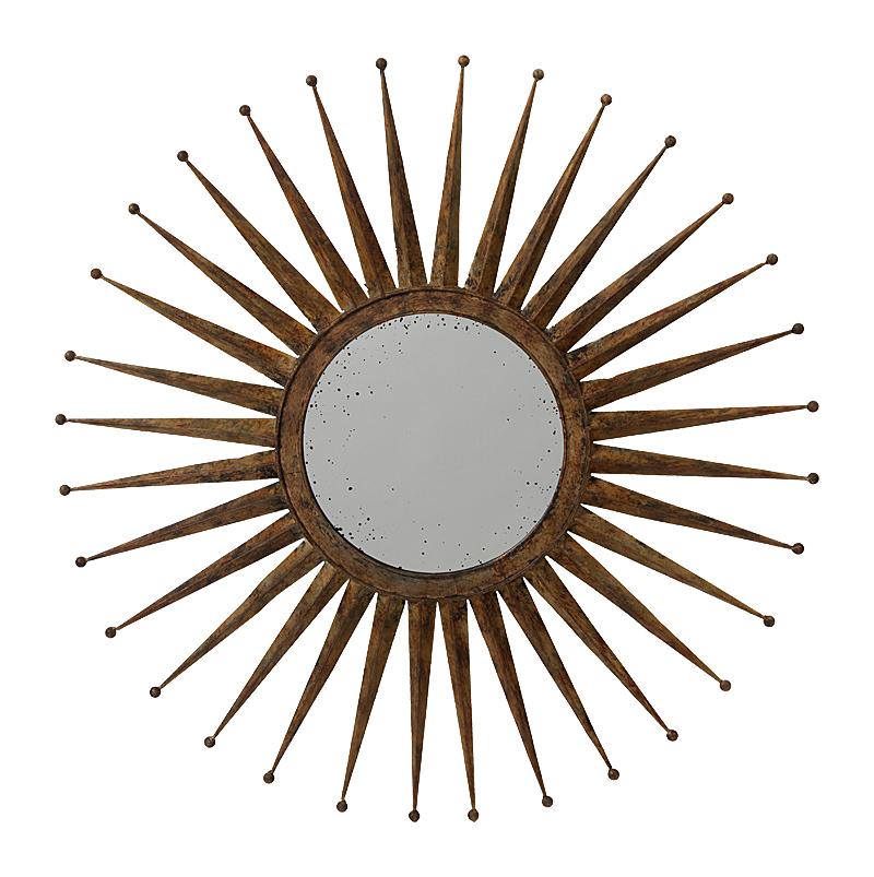 Зеркало-солнце Starburst PiccoloЗеркала<br>Металлическое обрамление зеркала Starburst <br>Piccolo впечатляет своей формой в виде солнца. <br>Размещенное на любой стене, это зеркало <br>за счет своей яркой внешности становится <br>главным фокусом внимания, с интригующим <br>кругом среди эффектных металлических лучей. <br>Современное, стильное зеркало, которое <br>дополняет и усиливает окружающую обстановку <br>своим смелым и ярким внешним видом. Можно <br>повесить над камином в гостиной, прихожей <br>или столовой.<br><br>Цвет: бронза<br>Материал: Металл, Зеркало<br>Вес кг: 2,5<br>Длина см: 76,2<br>Ширина см: 4<br>Высота см: 76,2
