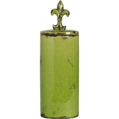 Емкость для хранения с крышкой Cannister OliveКухонные принадлежности<br>Ёмкость для хранения Cannister Olive изготовлена <br>из совершенно безопасного натурального <br>материала — керамики, покрытой глазурью <br>оливкового цвета. Крышка снабжена удобной <br>ручкой в виде геральдической лилии. С её <br>помощью герметично упакованные продукты <br>надолго сохранят свой вкус и запах.<br><br>Цвет: Зелёный<br>Материал: Керамика<br>Вес кг: 2,3<br>Длина см: 16,51<br>Ширина см: 11,43<br>Высота см: 50,8