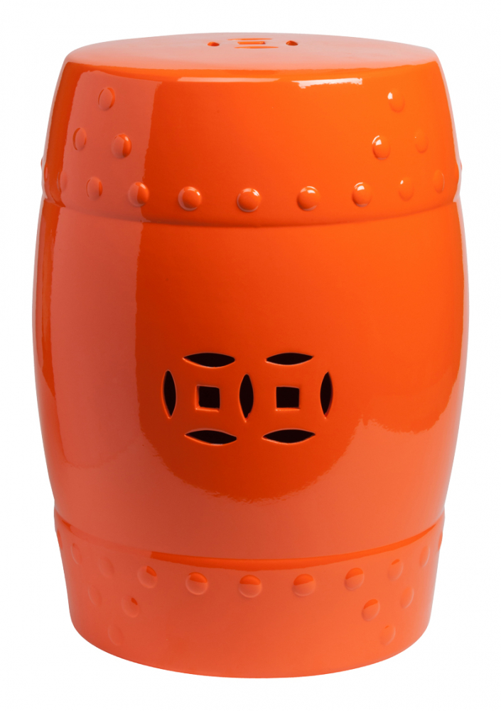 Керамический столик-табурет Garden Stool ОранжевыйКерамические табуреты<br>Оригинальный керамический столик-табурет <br>в форме бочонка. Это предмет мебели, который <br>сочетает в себе сразу две функции — его <br>можно использовать и как стол, на который <br>можно поставить чашку чая и положить газету, <br>и как табурет, на который можно присесть. <br>Все зависит только от вашего желания. Примечательно, <br>что эта модель выполнена не из дерева, как <br>следовало бы ожидать, а из грубой керамики, <br>покрытой глазурью. Его боковую поверхность <br>украшает резной орнамент, а оранжевый цвет <br>отлично сочетается со многими яркими цветами <br>в интерьере любого стиля. Хотите больше <br>приятных эмоций — купите столь необычный <br>и яркий предмет для своего интерьера.<br><br>Цвет: Оранжевый<br>Материал: Керамика<br>Вес кг: 7,1<br>Длина см: 33<br>Ширина см: 33<br>Высота см: 46