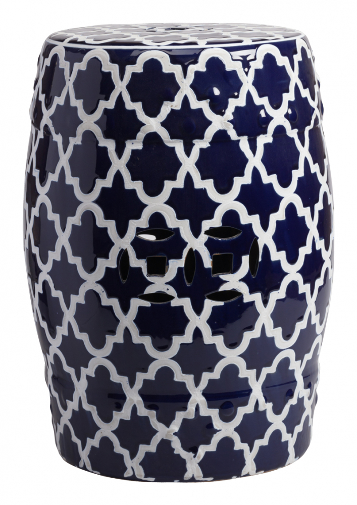Керамический столик-табурет Istanbul Stool Dark  Blue DG-HOME Это предмет мебели, который удачно сочетает  в себе сразу две функции — его можно использовать  и как стол, и как табурет, в зависимости  от вашего желания. Примечательно, что эта  модель выполнена не из дерева, как следовало  бы ожидать, а из грубой керамики. Столик-табурет  выполнен в тёмно-синем цвете, эффектно декорирован  белым орнаментом, удачно дополнен отверстиями,  которыми удобно воспользоваться для его  перемещения. Такой столик-табурет будет  уместен в интерьере с элементами стиля  модерн, но и, без сомнений, удачно впишется  в интерьеры самых разных стилей. Хотите  больше приятных эмоций — купите столь необычный  и функциональный предмет для своего интерьера.