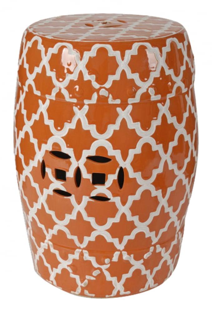 Керамический столик-табурет Istanbul Stool Оранжевый DG-HOME Это предмет мебели, который удачно сочетает  в себе сразу две функции — его можно использовать  и как стол, и как табурет, в зависимости  от вашего желания. Примечательно, что эта  модель выполнена не из дерева, как следовало  бы ожидать, а из грубой керамики. Столик-табурет  выполнен в оранжевом цвете, эффектно декорирован  белым орнаментом, удачно дополнен отверстиями,  которыми удобно воспользоваться для его  перемещения. Такой столик-табурет будет  уместен в интерьере с элементами стиля  модерн, но и, без сомнений, удачно впишется  в интерьеры самых разных стилей. Хотите  больше приятных эмоций — купите столь необычный  и яркий предмет для своего интерьера.