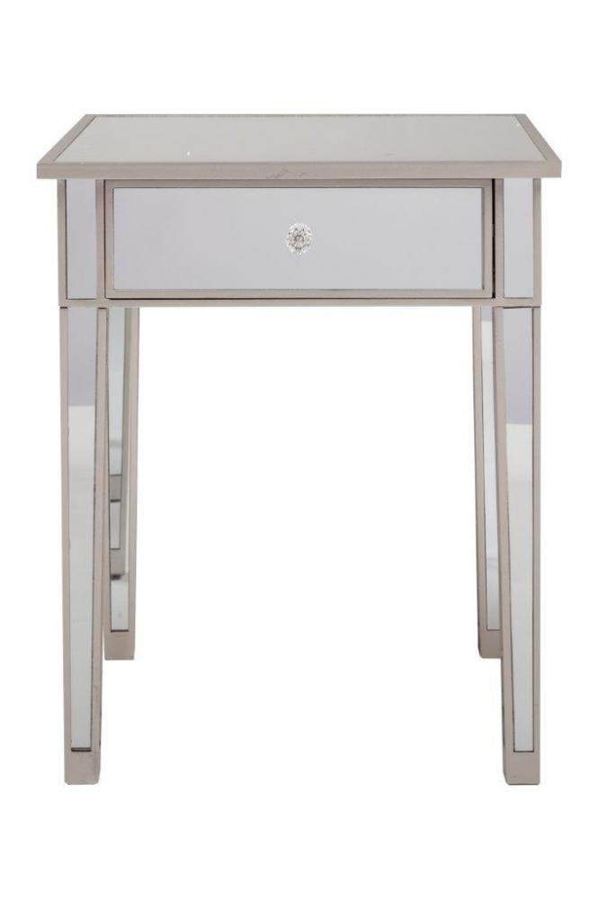 Зеркальный прикроватный столик FelicityКофейные и журнальные столы<br>Столик изготовлен из качественного МДФ, <br>каждая его деталь имеет зеркальные вставки, <br>благодаря которым он смотрится всегда по-новому <br>и актуально. Столик дополнен небольшим <br>выдвижным ящиком с прозрачной ручкой в <br>виде цветка, в котором удобно хранить необходимые <br>под рукой мелочи. Купите этот столик для <br>своей спальни или гостиной.<br><br>Цвет: Белый, Зеркальный<br>Материал: МДФ, Зеркало<br>Вес кг: 18,6<br>Длина см: 60,45<br>Ширина см: 60,45<br>Высота см: 73,66