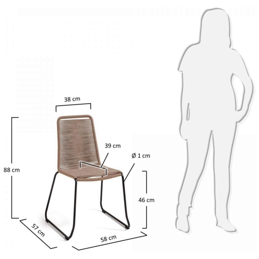 MEAGAN стул металлический серый канат бежевый C835S12 от La Forma (ex Julia Grup)