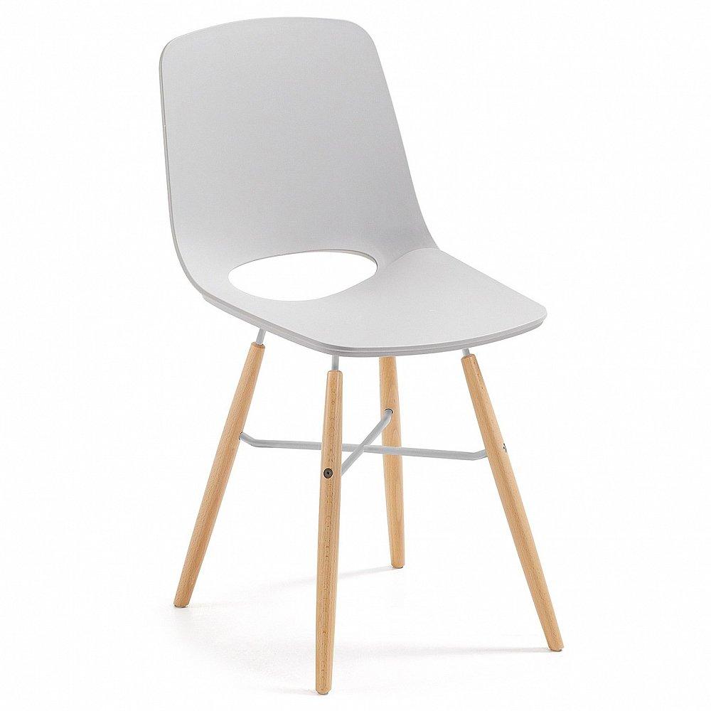 KINT стул из натурального дерева пластиковый светло-серый CC0231S14 от La Forma (ex Julia Grup)