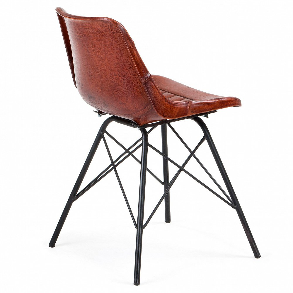 TRIBU Стул металлический кожаный коричневый CC0347P10 от La Forma (ex Julia Grup)