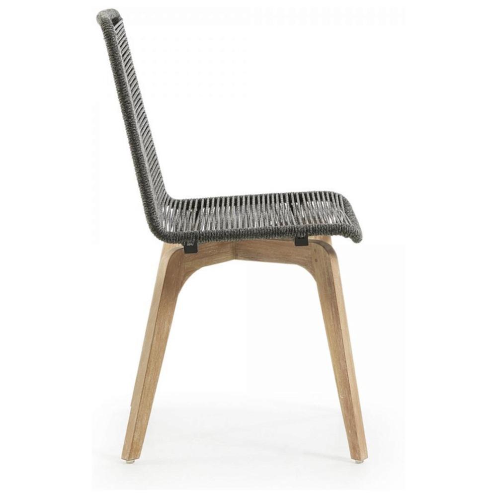 GLENDON Стул из эвкалипта с  натуральным канатом - серый CC0546S14 от La Forma (ex Julia Grup)
