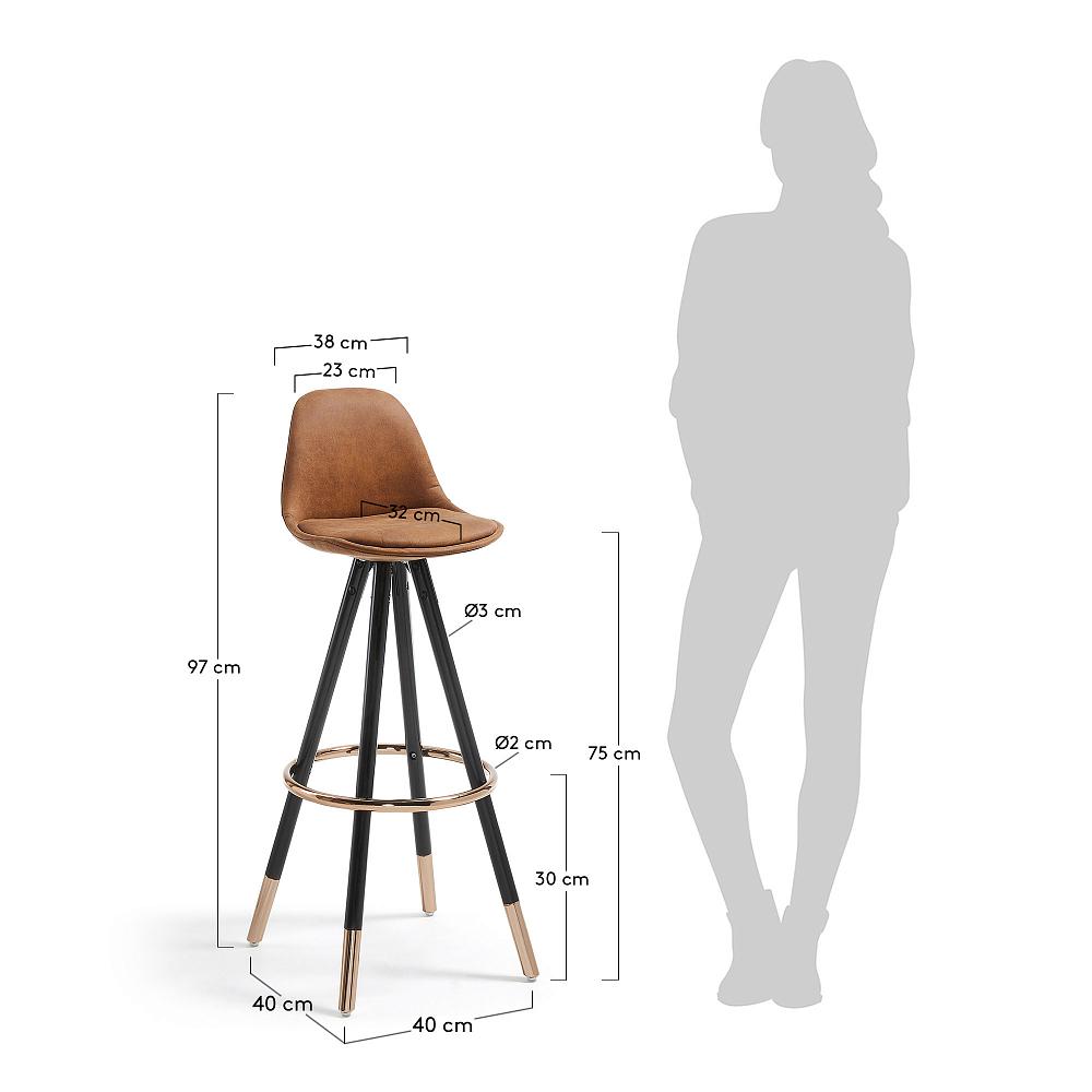 Барный стул Stag коричневое сидение от La Forma (ex Julia Grup)