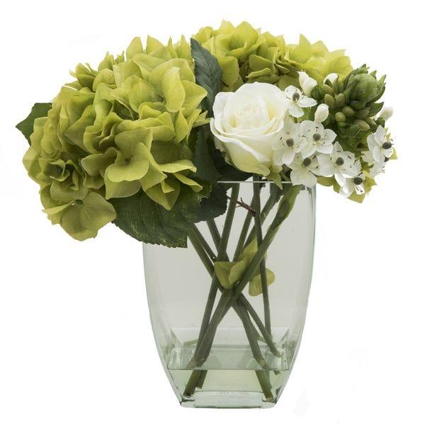 Композиция из искусственных цветов в вазе РОЗЫ И ГОРТЕНЗИИ