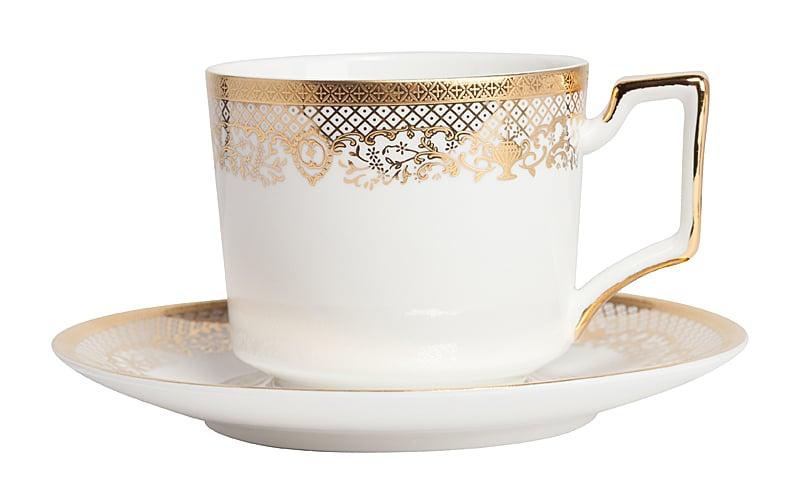 Чайная пара CelebrasЧайные пары<br>Элегантная чайная пара из белоснежного <br>китайского фарфора с тонким золотым рисунком <br>станет украшением любого чаепития, подарит <br>ощущение вкуса и элегантности. Прекрасно <br>подойдет для сервировки стола в любом стиле. <br>Выбрав чайную пару Celebras, вы приобретете <br>ежедневное наслаждение при чаепитии.<br><br>Цвет: Белый, Золото<br>Материал: Фарфор<br>Вес кг: 1,3<br>Длина см: 9<br>Ширина см: 9<br>Высота см: 5,5