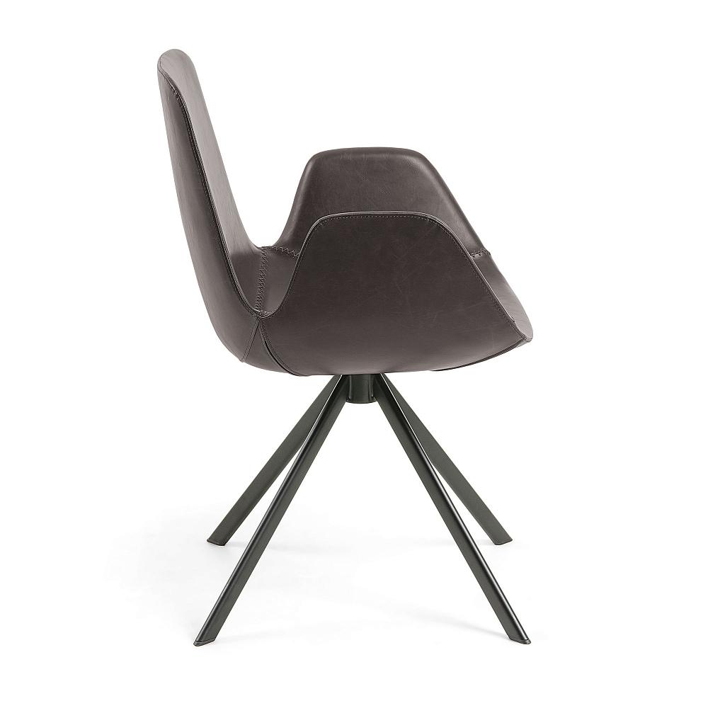 YASMIN Кресло PU коричневое с черными металлическими ножками CC0827U11 от La Forma (ex Julia Grup)