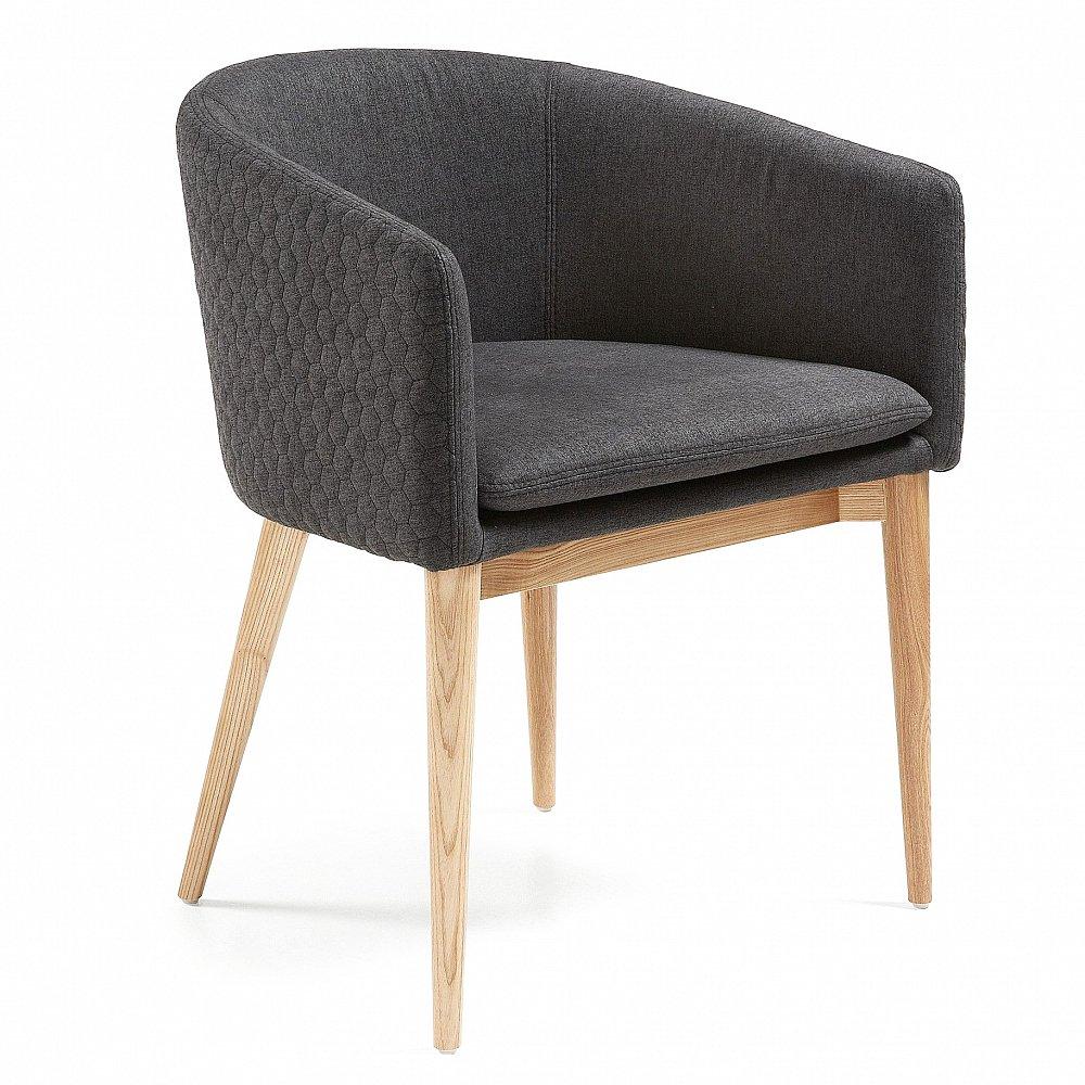 HARMON Кресло из натурального дерева стеганое темно-серое CC0078JQ15 от La Forma (ex Julia Grup)
