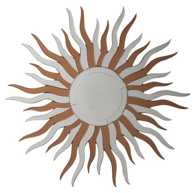 Зеркало-солнце TintinЗеркала<br>Зеркало Tintin, выполненное в виде солнца <br>с коричневыми и зеркальными лучами, подойдет <br>к любому стилю интерьера. Оно поднимет вам <br>настроение и подарит только положительные <br>эмоции. Наполните свой дом солнечным светом!<br><br>Цвет: Зеркальный, Бронза<br>Материал: МДФ, Зеркало<br>Вес кг: 7<br>Длина см: 80<br>Ширина см: 2,5<br>Высота см: 80