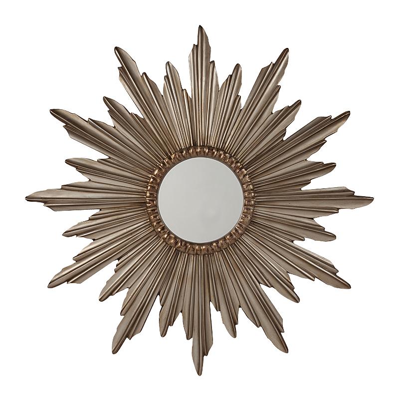 Зеркало-солнце Parada DG-HOME Зеркало Parada — стильный предмет декора  интерьера и безусловное его украшение.  Оно будет удачно смотреться как в комнате  с модной зеркальной мебелью, так и в любой  другой обстановке. Изысканная рама, выполненная  в виде солнца придает аксессуару неповторимый  и роскошный вид. Представьте себя перед  этим роскошным зеркалом — и вы почувствуете,  что оно обязательно должно быть в вашем  доме. Сделайте себе — любимой — подарок!