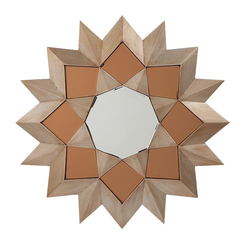 Зеркало-солнце SorpresaЗеркала<br>В данном случае дизайнерам удалось создать <br>зеркало с оригинальной формой оправы в <br>виде солнца, которая легко вольётся в большинство <br>интерьерных композиций. Внешняя оправа <br>представляет собой МДФ, стилизированный <br>под натуральное дерево, в центре шестигранное <br>зеркало. Это зеркало будет отлично смотреться <br>в любом помещении и его можно повесить на <br>любой стене в вашем доме. Прекрасно будет <br>смотреться в спальне или ванной комнате.<br><br>Цвет: Бежевый, Коричневый<br>Материал: МДФ, Зеркало<br>Вес кг: 8<br>Длина см: 80<br>Ширина см: 1,2<br>Высота см: 80